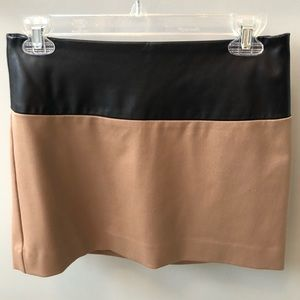Tan and Black Faux Leather Skirt - Size 0